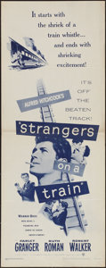 """Movie Posters:Hitchcock, Strangers on a Train (Warner Brothers, R-1957). Insert (14"""" X 36""""). Hitchcock.. ..."""