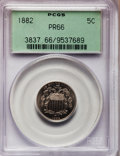 Proof Shield Nickels: , 1882 5C PR66 PCGS. PCGS Population (210/37). NGC Census: (227/38).Mintage: 3,100. Numismedia Wsl. Price for problem free N...