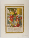 Books:Prints & Leaves, G. S. Peters. Woodcut with Hand-Coloring Entitled, ChristEntering Jerusalem. Ca. 1838. Approx. 13.5 x 9.25 inches a...