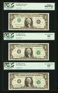 Error Notes:Inverted Third Printings, Fr. 1908-F $1 1974 Federal Reserve Notes. PCGS Gem New 66PPQ andVery Choice New 64 (2) Bookends.. ... (Total: 3 notes)