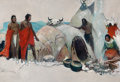 Paintings, FRANK EARLE SCHOONOVER (American, 1877-1972). Two Sweat Lodges, 1927. Oil on canvas. 26 x 38 inches (66.0 x 96.5 cm). In...