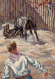 TOM LEA (American, 1907-2001) Bull Fight Oil on cardstock 10-3/4 x 7-1/2 inches (27.3 x 19.1 cm) Signed lower right: