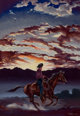 TOM LEA (American, 1907-2001) Cowboy on Horseback Oil on cardstock 10-3/4 x 7-1/2 inches (27.3 x 19.1 cm) Signed low