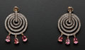Estate Jewelry:Earrings, Pink Tourmaline Pear Cut Diamond Circle Gold Earrings. ...