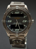Timepieces:Wristwatch, Breitling Running First Titanium Dual Time Zones Wristwatch WithRepetition Minutes. ...