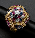 Estate Jewelry:Rings, Estate Ruby & Sapphire Gold Ring. ...