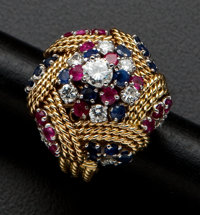 Estate Ruby & Sapphire Gold Ring