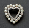 Estate Jewelry:Brooches - Pins, Vintage Diamond & Pearl Heart Pin. ...