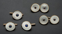 Tuxedo Sapphire & Mother Of Pearl Gold Cufflinks & Button Replacements