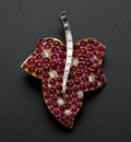 Estate Jewelry:Brooches - Pins, Outstanding 18k Gold Diamond & Ruby Leaf Brooch. ...