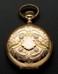 Timepieces:Pocket (post 1900), Waltham 14k Multi-Color Gold Fancy Dial Hunter's Case Pocket Watch. ...