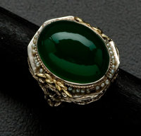 Antique Jade Gold Filigree Ring