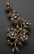 Estate Jewelry:Brooches - Pins, Early Diamond & Gold Flower Brooch. ...