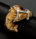 Estate Jewelry:Rings, Terrific Gent's Diamond & Gold Horse Ring. ...