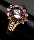 Estate Jewelry:Rings, Antique Amethyst With Rose Inlay Gold Ring. ...