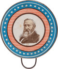 Political:Ferrotypes / Photo Badges (pre-1896), Benjamin Harrison: Large Graphic Hand Mirror....