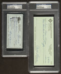 Baseball Collectibles:Others, Curt Flood and Reggie Jackson Signed Checks Lot of 2. ...