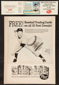 """Baseball Collectibles:Others, 1962 Mickey Mantle and Roger Maris """"LIFE"""" Post Cereal Card Insertand Advertisement...."""