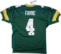 Football Collectibles:Uniforms, Brett Favre Signed and Stat Inscribed Green Bay Packers Jersey. ...