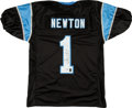 Football Collectibles:Uniforms, Cam Newton Signed Carolina Panthers Jersey. ...