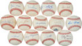 Autographs:Baseballs, Baseball Greats Single Signed Baseballs Lot Of 13....