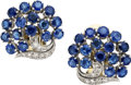 Estate Jewelry:Earrings, Sapphire, Diamond, Silver, Gold Earrings. ...