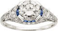 Estate Jewelry:Rings, Art Deco Diamond, Sapphire, Platinum Ring, J. E. Caldwell. ...
