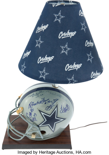 1990s Dallas Cowboys Signed Helmet Lamp Display Football Lot