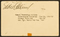 Baseball Collectibles:Others, 1940 Eddie Collins Signed Government Postcard....