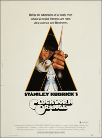 "A Clockwork Orange (Warner Brothers, 1971). Poster (30"" X 40"") X-Rated Style. Science Fiction"