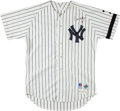 Baseball Collectibles:Uniforms, Don Mattingly Signed Game Issued New York Yankees Jersey - Mantle Memorial Patch....