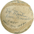 Autographs:Baseballs, 1940s Minor League Team Signed Baseball with Pepper Martin andWalter Alston. In the years that led up to his assignment as...