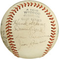 Autographs:Baseballs, 1950s Minor Leaguers Team Signed Baseball. Seventeen signaturesfrom circa 1950 minor leaguers have been signed on this Amer...