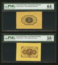 Fractional Currency:First Issue, Fr. 1231SP 5¢ First Issue Wide Margin Pair PMG Choice About Unc 58Net and PMG Choice Uncirculated 64. . ...
