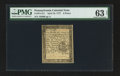 Colonial Notes:Pennsylvania, Pennsylvania April 10, 1777 6d PMG Choice Uncirculated 63 Net.. ...