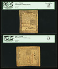 Colonial Notes:Pennsylvania, Pennsylvania April 3, 1772 18d PCGS Apparent Extremely Fine 45,.and a Pennsylvania April 3, 1772 18d PCGS Fine 15.. ... (Total: 2notes)