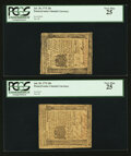 Colonial Notes:Pennsylvania, Pennsylvania July 20, 1775 20s Two Examples PCGS Very Fine 25.. ...(Total: 2 notes)