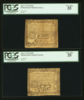 Colonial Notes:Pennsylvania, Pennsylvania April 3, 1772 2s 6d Two Examples PCGS Very Fine 35..... (Total: 2 notes)