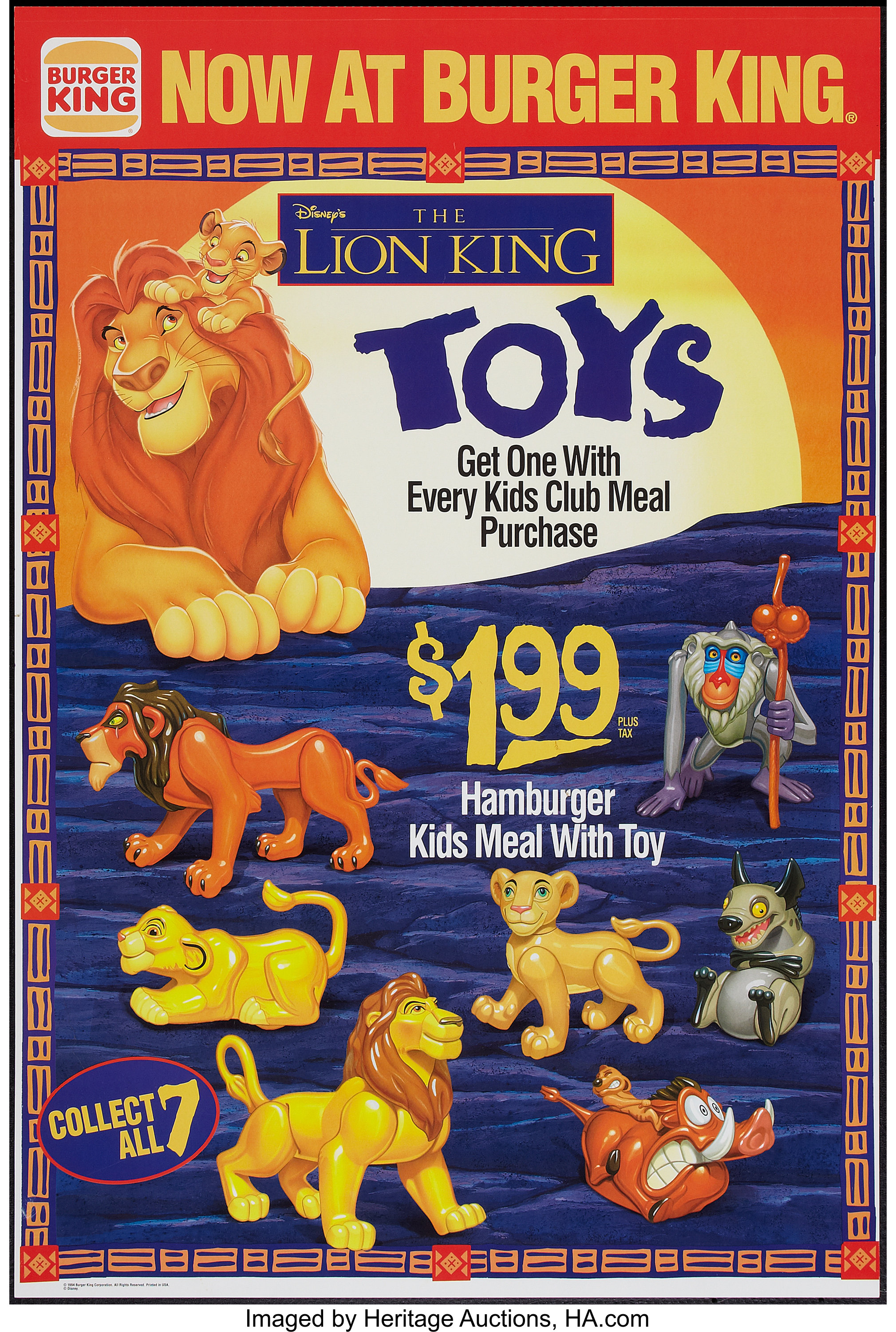 The Lion King Burger King 1994 Burger King Promotional Poster Lot 50294 Heritage Auctions