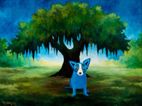 GEORGE RODRIGUE (American, b. 1944) Blue Sky Shining Over Me, 1995 Acrylic on canvas 36 x 48 inch