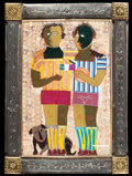 Latin American:Contemporary, RODOLFO MORALES (Mexican, 1925-2001). Untitled (SoccerPlayers), ca. 1980. Fabric and foil collage in a pressed metalfr...