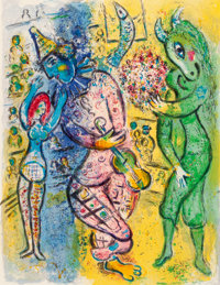 MARC CHAGALL (Belorussian, 1887-1985) Le Cirque, 1967 Color lithograph 16-3/4 x 12-3/4 inches (42