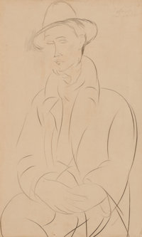 AMEDEO MODIGLIANI (Italian, 1884-1920) Portrait de Sola, 1918/1919 Graphite on paper 17 x 10 inch