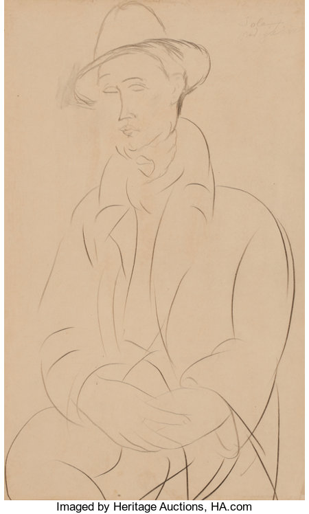 AMEDEO MODIGLIANI (Italian, 1884-1920)Portrait de Sola, 1918/1919Graphite on paper17 x 10 inches (43.2 x 25.4 cm)...