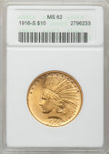 Indian Eagles, 1916-S $10 MS62 ANACS....