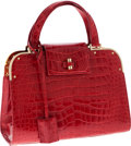 Luxury Accessories:Bags, Yves Saint Laurent Special Order Shiny Red Crocodile Medium Sac Uptown Bag with Gold Hardware. ...