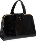 Luxury Accessories:Bags, Yves Saint Laurent Special Order Shiny Black Crocodile Large SacUptown Bag with Gold Hardware. ...