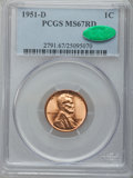 Lincoln Cents, 1951-D 1C MS67 Red PCGS. CAC....