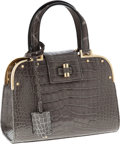 Luxury Accessories:Bags, Yves Saint Laurent Special Order Shiny Gray Crocodile Small SacUptown Bag with Gold Hardware. ...