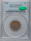 Indian Cents, 1883 1C MS64 Brown PCGS. CAC. Snow-1, FS-403....
